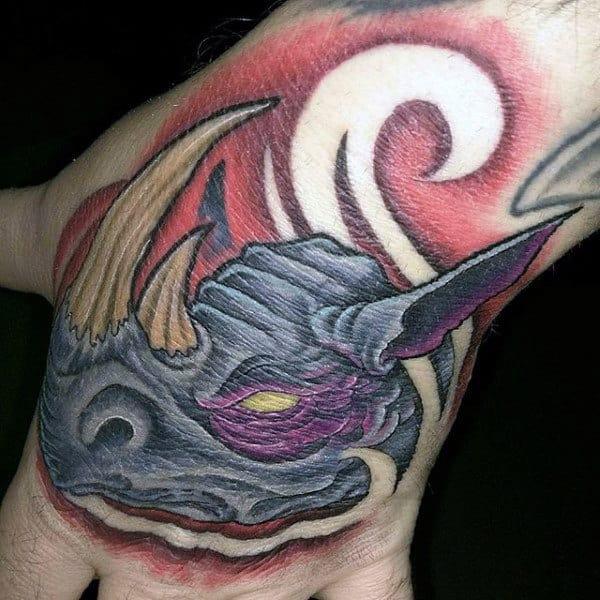 Awesome Rhino Mens Hand Tattoos