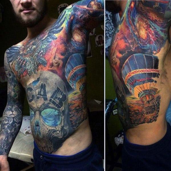 Awesome Rib Cage Side Mens Hot Air Balloon Tattoo Ideas