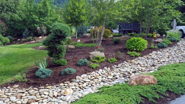 Awesome River Rock Landscaping Ideas For Sloped Backyard - Top 50 Best River Rock Landscaping Ideas - Hardscape Designs