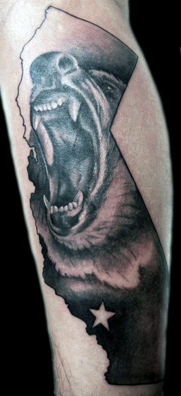 Awesome Roaring California Bear Tattoo On Mans Forearm With Shaded Ink