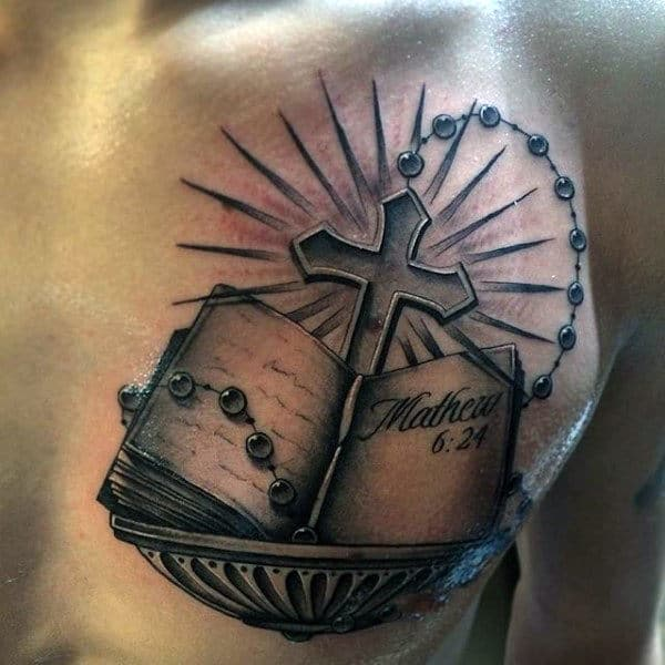 Awesome Rosary Tattoo Designs For Men With Bible Verse And Cross