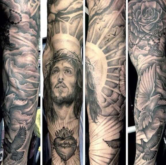 Awesome Rosary Tattoos For Guys Full Sleeve Design Ideas