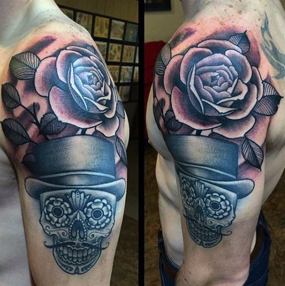 Awesome Rose Shoulder Tattoo On Man With Sugar Skull Design