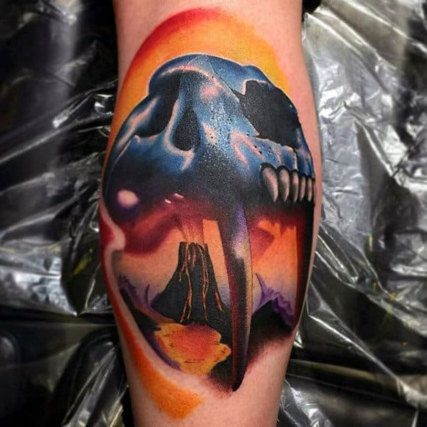 Awesome Saber Toothed Cat Mens Leg Calf Tattoo Colorful