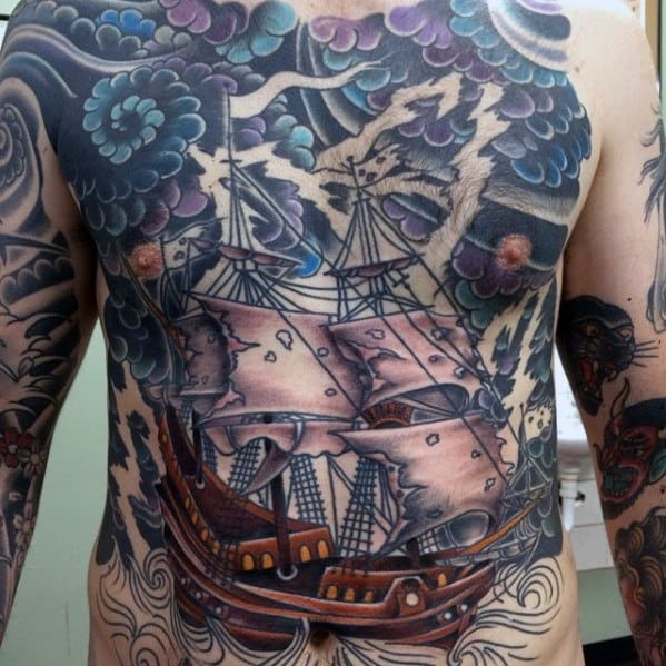 Awesome Sailing Ship In Thunderstorm Full Chest Traditional Tattoos For Men
