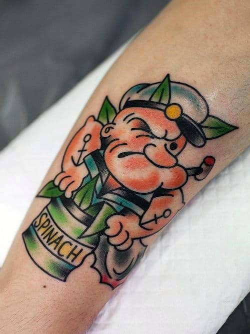 Awesome Sailor Jerry Popeye Guys Forearm Tattoo