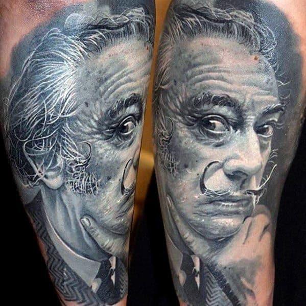 Awesome Salvador Dali Portrait Forearm Tattoos For Men