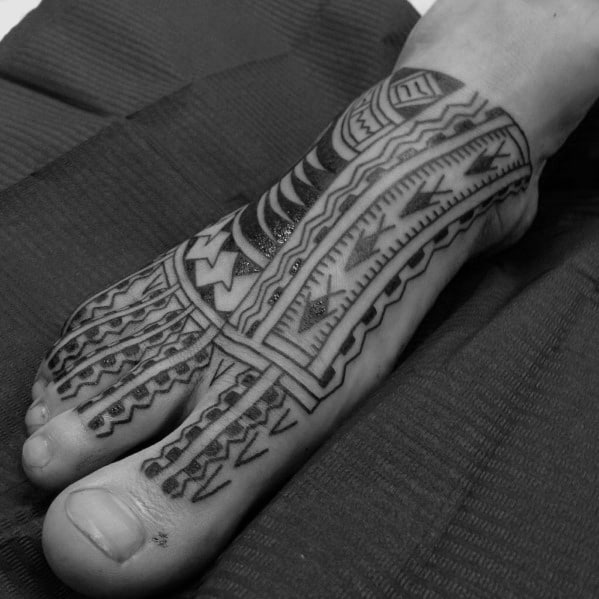 Awesome Samoan Mens Tribal Foot Tattoo Design Ideas