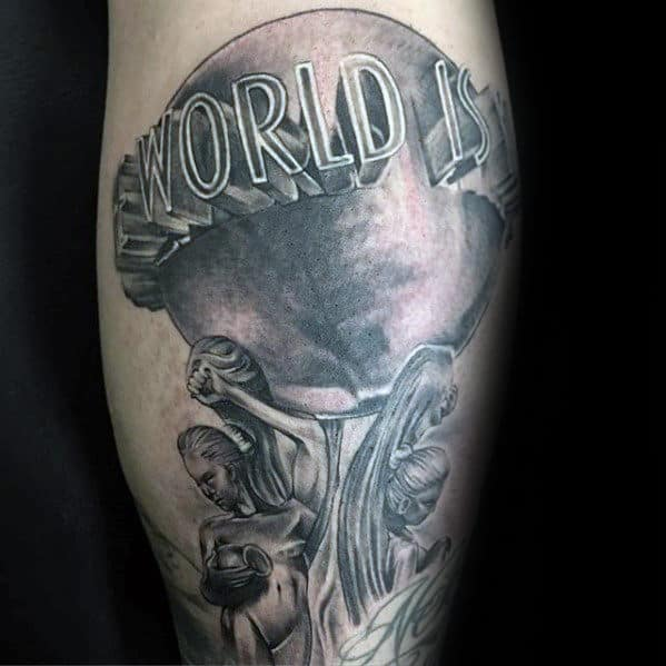 Awesome Scarface Mens The World Is Yours Shaded Leg Tattoos