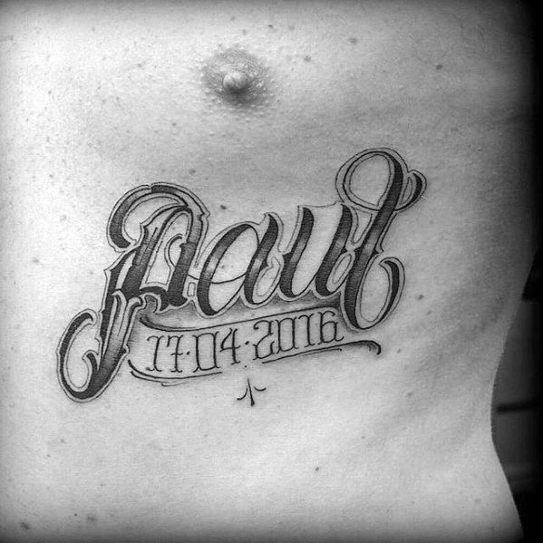 awesome script kids name paul with birthdate mens chest tattoo