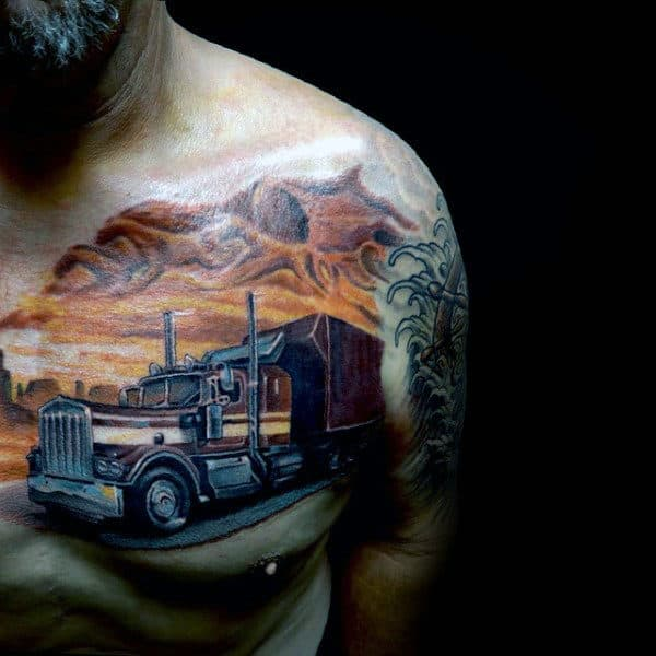 Awesome Semi Truck Sunset Mens Upper Chest Tattoos