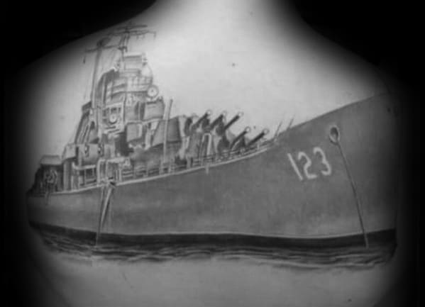 Awesome Shaded Black And Grey Ink 3d Realistic Back Battleship Tattoos For Men