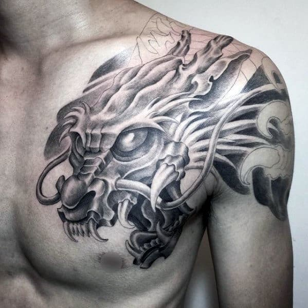 Awesome Shaded Dragon Shoulder Mens Tattoo