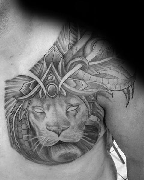 Awesome Shaded Male Tribal Shoulder Lion Tattoos