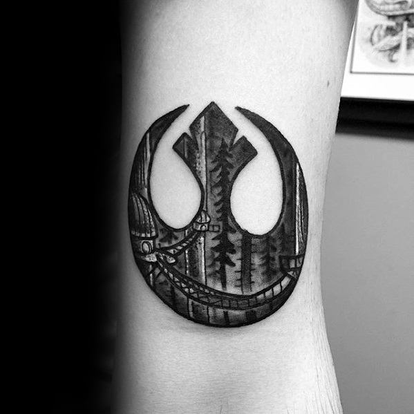 Awesome Shaded Nature Bridge Rebel Alliance Tattoos For Men On Arm