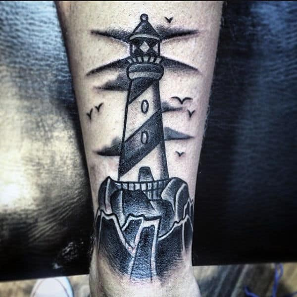 40 traditional lighthouse tattoo designs for men old school - Tattoo leuchtturm ...