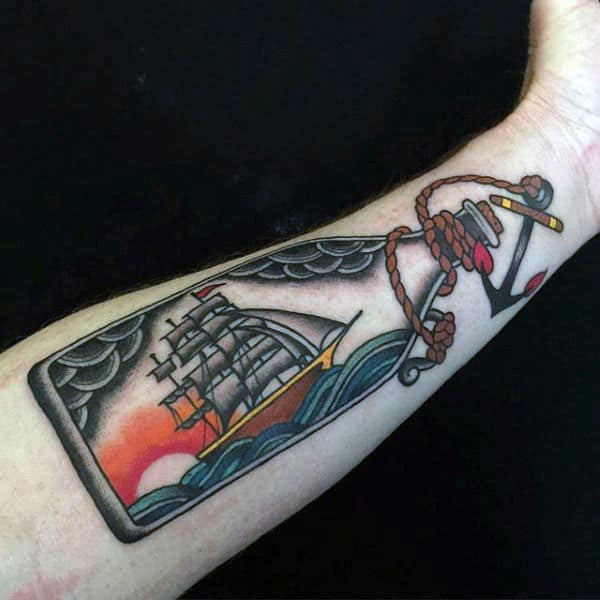 Awesome Ship In A Bottle Inner Forearm Gentlemens Tattoos