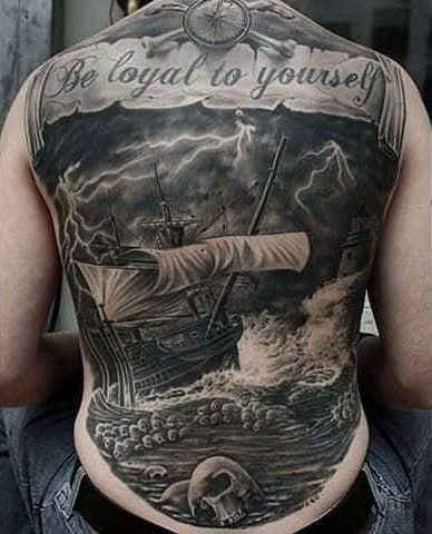 Awesome Ship On Raging Seas Realistic Tattoo Guys Entire Back