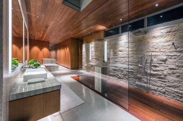 Awesome Shower Stone Wall Lighting Ideas