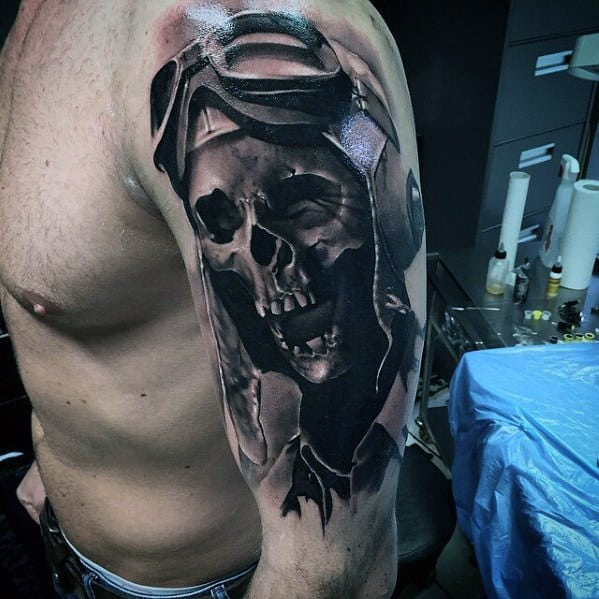 Awesome Skeleton Pilot Mens Arm Tattoos