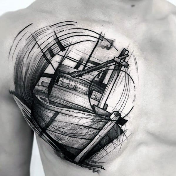 Awesome Sketch Navy Ship Chest Tattoos For Men