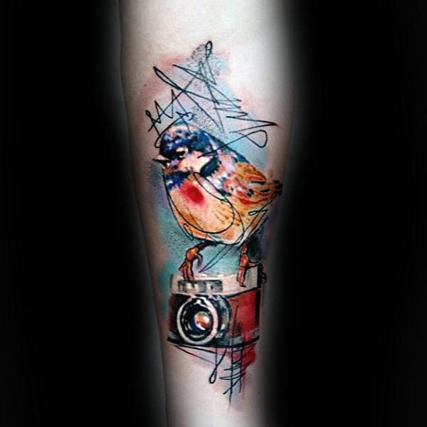Awesome Sketch Tattoo Of Bird On Camera Male Forearms