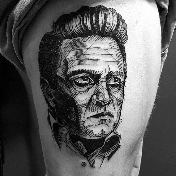 Awesome Sketched Thigh Portrait Johnny Cash Tattoos For Men
