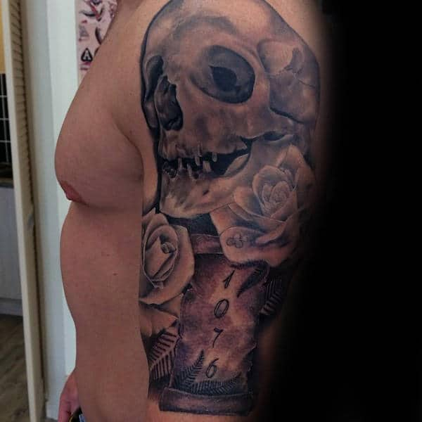 Awesome Skull And Rose Scrollmens Half Sleeve Tattoos