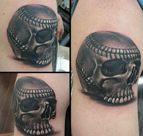 Awesome Skull Baseball Tattoos For Gentlemen