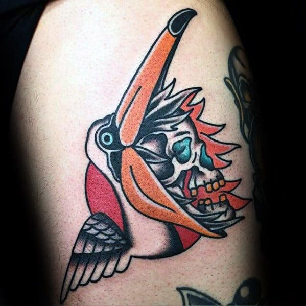 Awesome Skull Inside Pelican Thigh Tattoos For Men