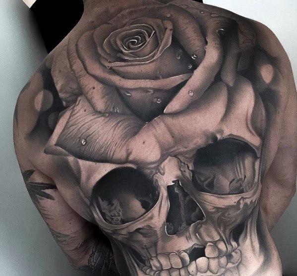 Awesome Skull Rose Flower 3d Back Tattoos For Men