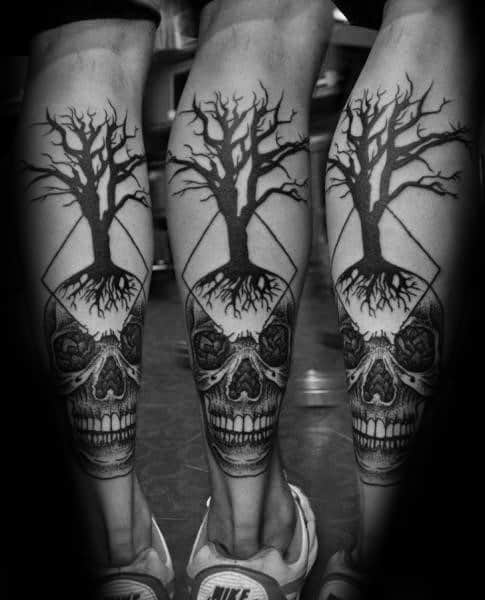 Awesome Skull Tree Leg Tattoos For Men