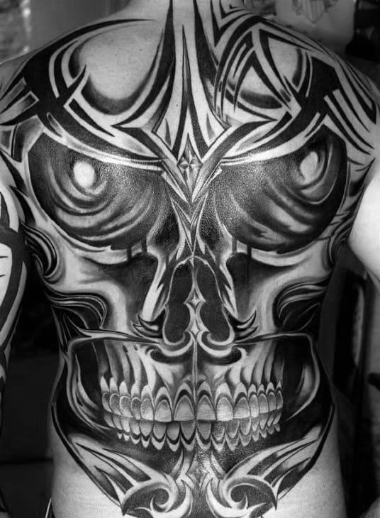 Awesome Skull Tribal Mens Full Back Tattoos
