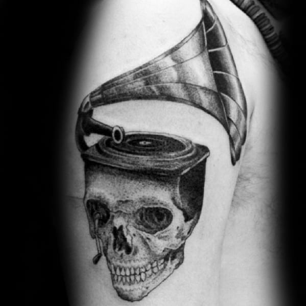 Awesome Skull Vinyl Record Player Arm Tattoos For Men