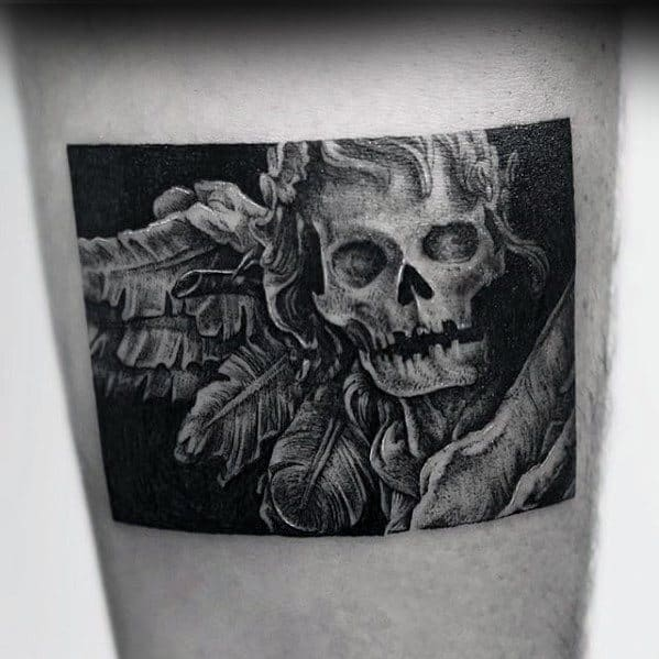 Awesome Skull With Feathers Small Manly Mens Thigh Tattoo