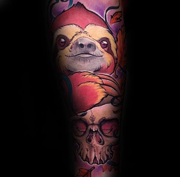 Awesome Sloth With Skull Mens Sleeve Tattoo Designs