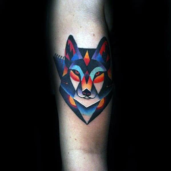 Awesome Small Fox Colorful Leg Tattoos For Guys
