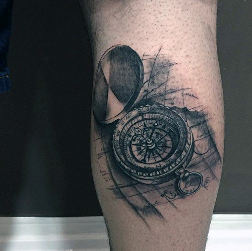 Awesome Small Map Compass Tattoos For Men On Leg Calf