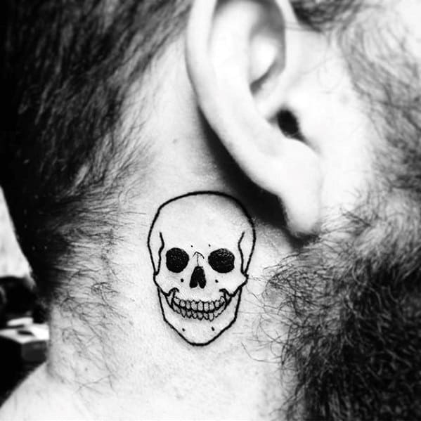 Awesome Small Neck Skull Tattoo Ideas For Guys