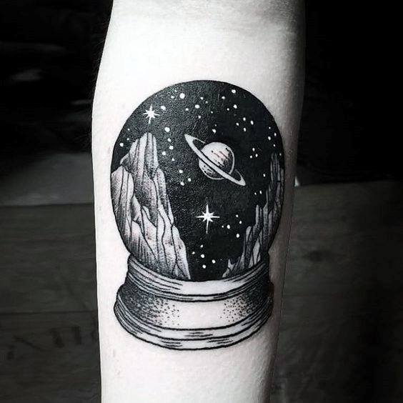 Awesome Small Unique Mens Snow Globe Outer Space Forearm Tattoo