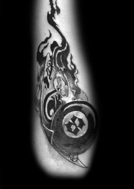 Awesome Smoking 8 Ball Male Outer Forearm Tattoo Design Ideas