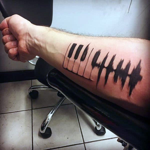 Awesome Soundwave With Piano Mens Black Ink Inner Forearm Tattoo