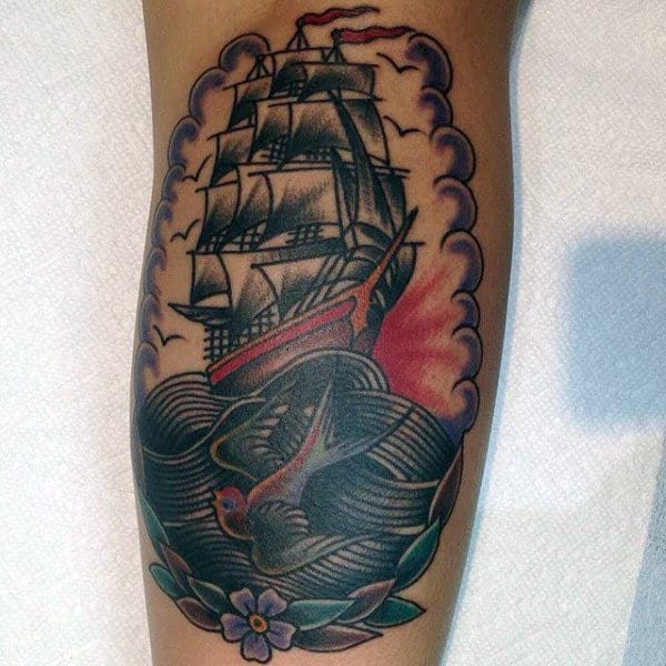 Awesome Sparrow And Ship On Raging Seas Tatoo Mens Forearms