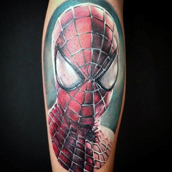 Awesome Spiderman Tattoo Guys Shoulders