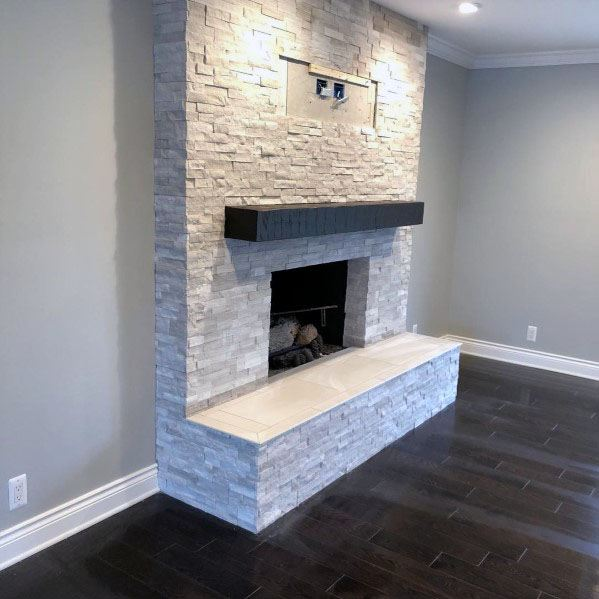 Awesome Stacked Stone Fireplace Ideas Living Room