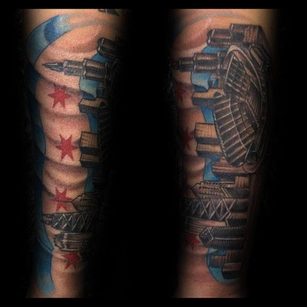 Awesome Stadium Chicago Skyline Mens Flag Forearm Tattoos