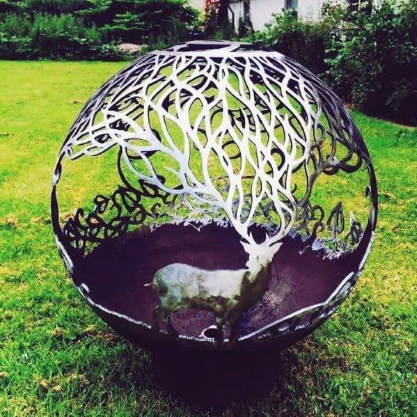 Awesome Steel Globe Deer Antler Fire Pit Ideas