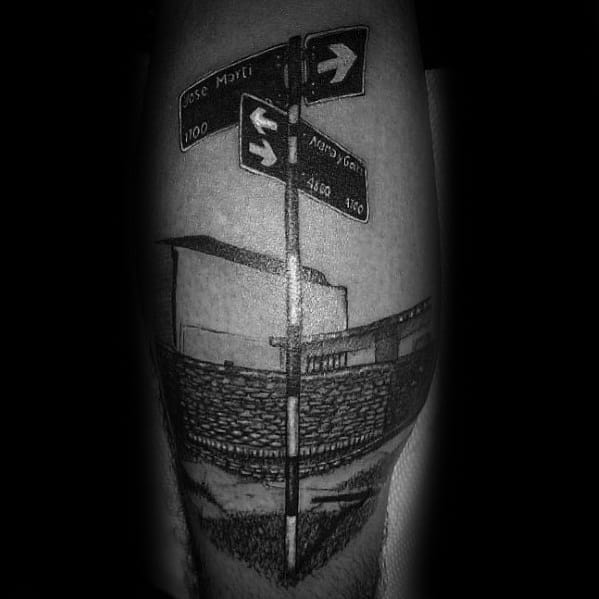 Awesome Street Sign Tattoos For Men