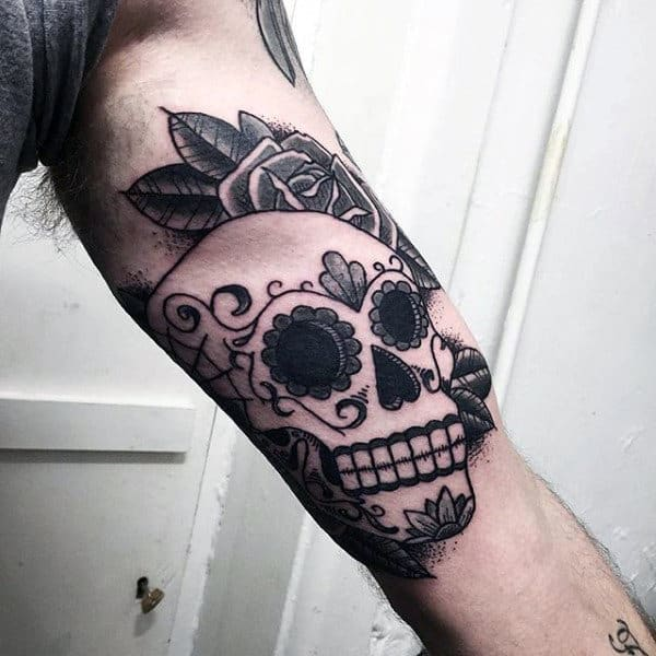Awesome Sugar Skull Mens Tattoos Inner Forearm Old School