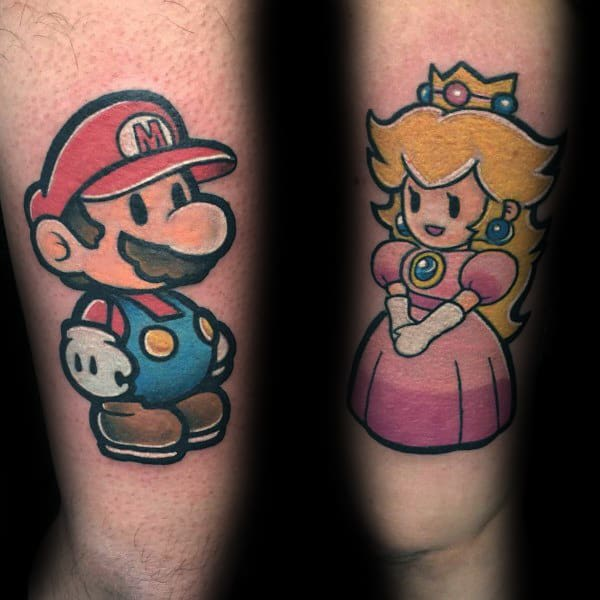 Awesome Tattoos For Couples With Super Mario Video Game Theme